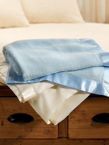 Waffle Weave Acrylic Blanket Lightweight Throw With Satin Trim