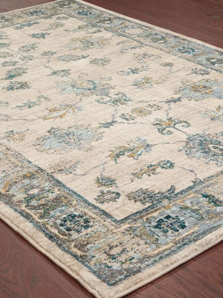 Floral Oriental Style Rug With Border Print