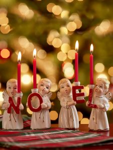 noel angel candle holder 4 piece set