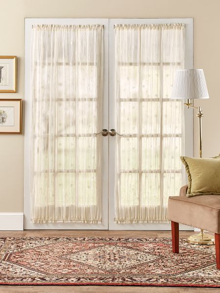 bee and fleur de lis rod pocket door panel. Black Bedroom Furniture Sets. Home Design Ideas