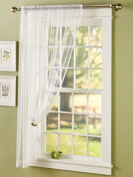 Point D Esprit Sheer Curtain Panel, Lace Curtains Band