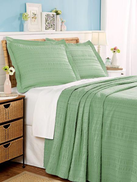 7fe10355ac74 Solid Seersucker All-Cotton Bedspread - Classic Puckered Texture