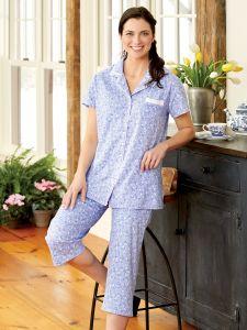 db610e994a Eileen West Blue Floral Cotton-Knit Pajamas