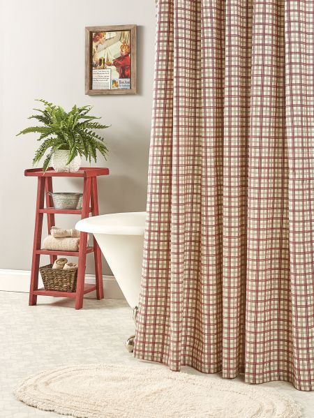 Duck Cloth Shower Curtain In Country Plaid
