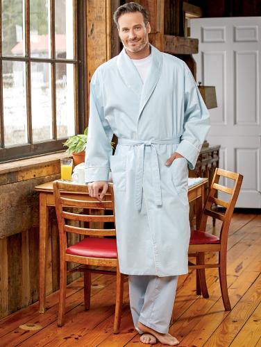 1fa1ea8bd Mens Cotton Percale Wrap Robe | Classic Wrap Robe