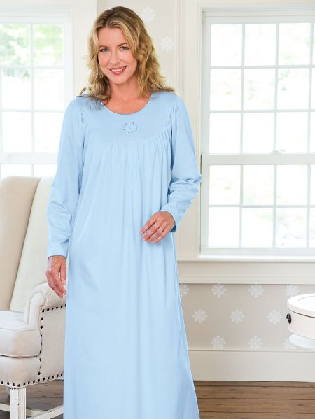 Calida Cotton Knit Nightgown - Womens Long Sleeve Sleep Gown a42429b71b