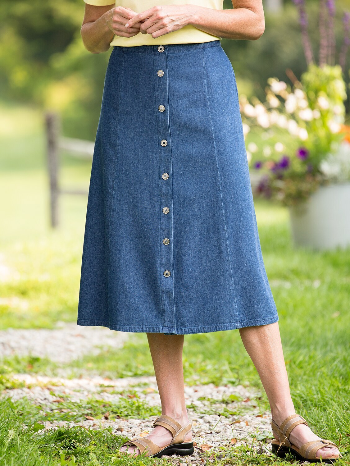 Gored Denim Skirt with Button Front