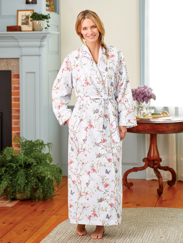 6d9b73810 Womens Cotton Percale Wrap Robe With Shawl Collar