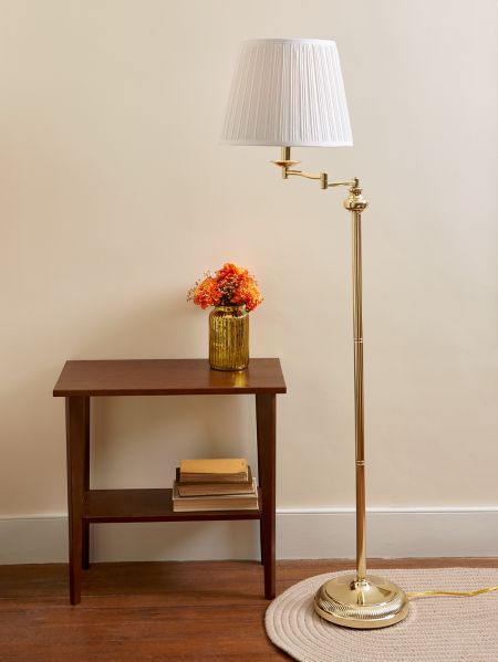 swing arm floor lamp brass finish 3 way switch. Black Bedroom Furniture Sets. Home Design Ideas