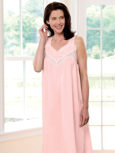 77f87ab158 Cotton Nightgown with Cluny Lace and Embroidery
