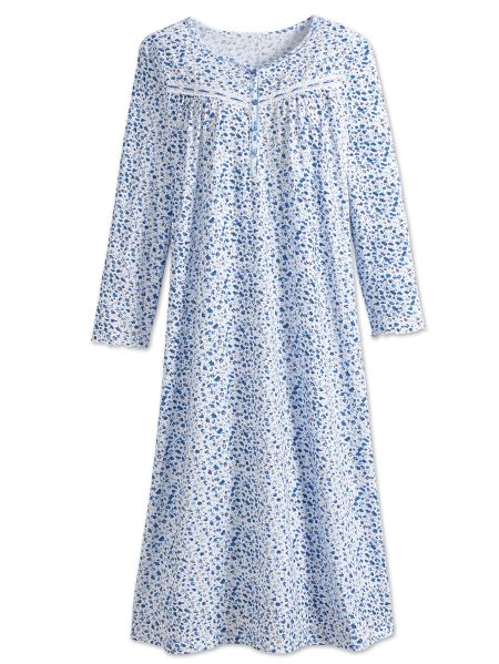 b0ab2ac0c2 Cotton Knit Nightgown with Morning Glory Print