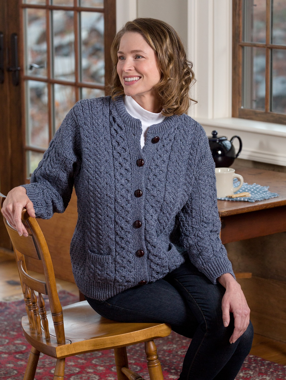 Merino Wool Irish Sweater Authentic Cable Knit Cardigan