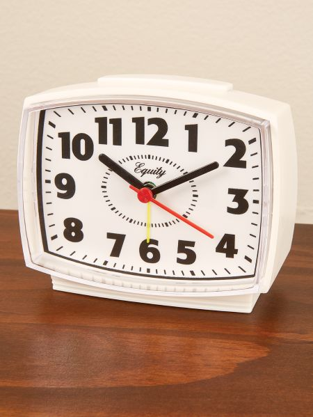 electric analog alarm clock with top touch snooze alarm. Black Bedroom Furniture Sets. Home Design Ideas