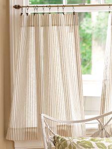 ticking stripe rod pocket tiers - Kitchen Curtain