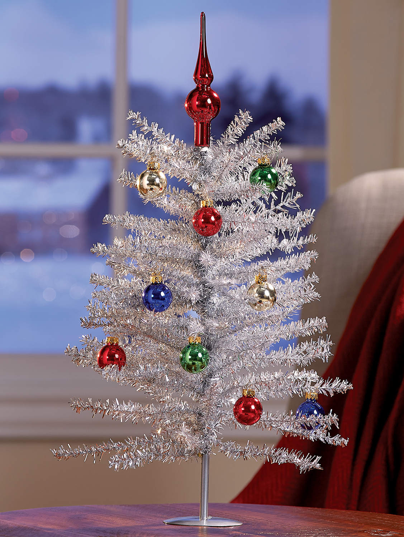 Silver Tinsel Christmas Tree Holiday Decor