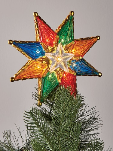 Christmas Tree Topper.Multi Color Star Tree Topper