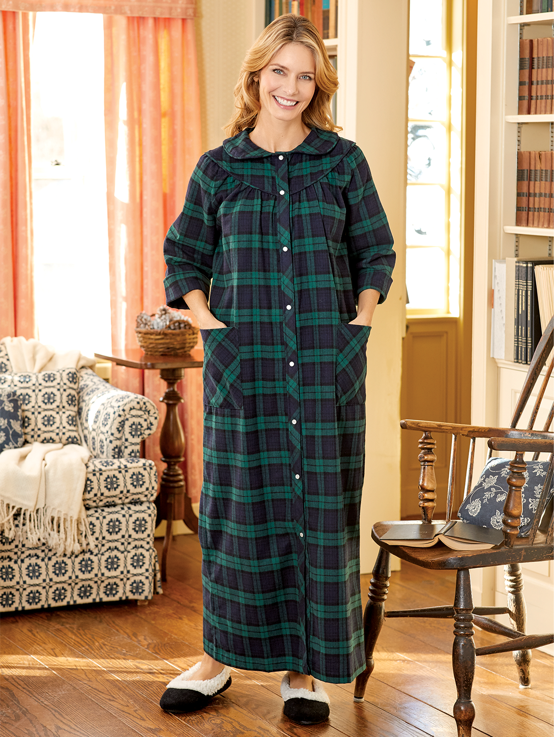 Women's Portuguese Flannel Snap-Front Robe