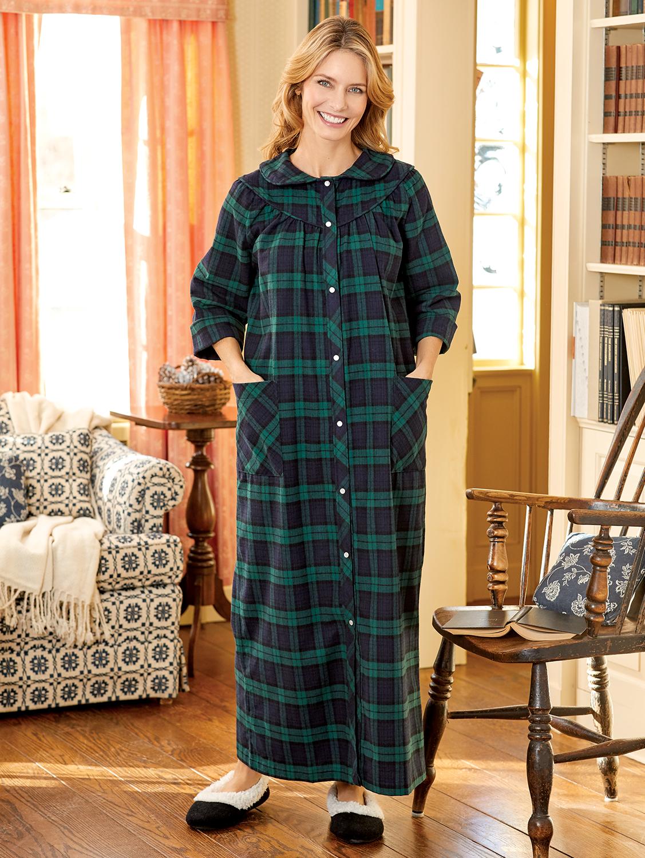 Women's Portuguese Cotton Flannel Snap-Front Robe