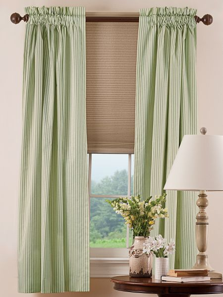 Insulated Ticking Stripe Rod Pocket Curtains