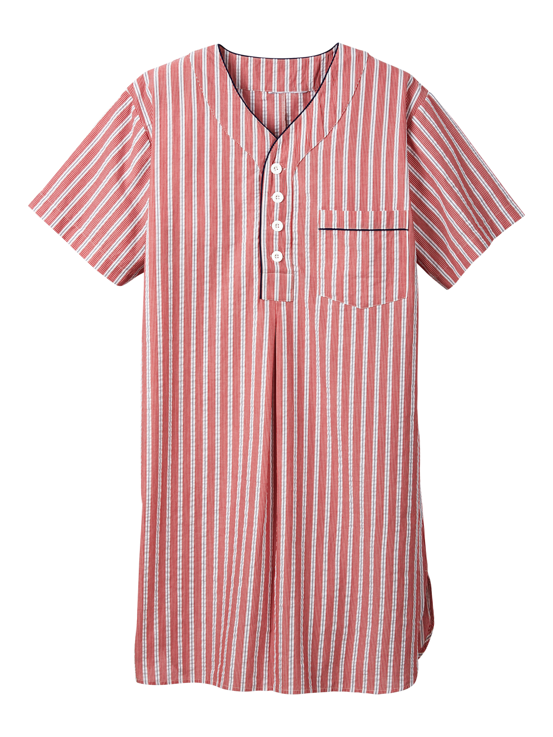 Mens V-Neck Seersucker Nightshirt