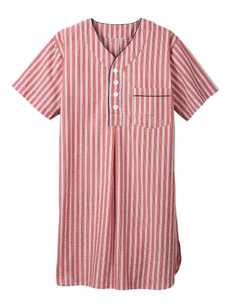 V-Neck Cotton Seersucker Nightshirt cce456926