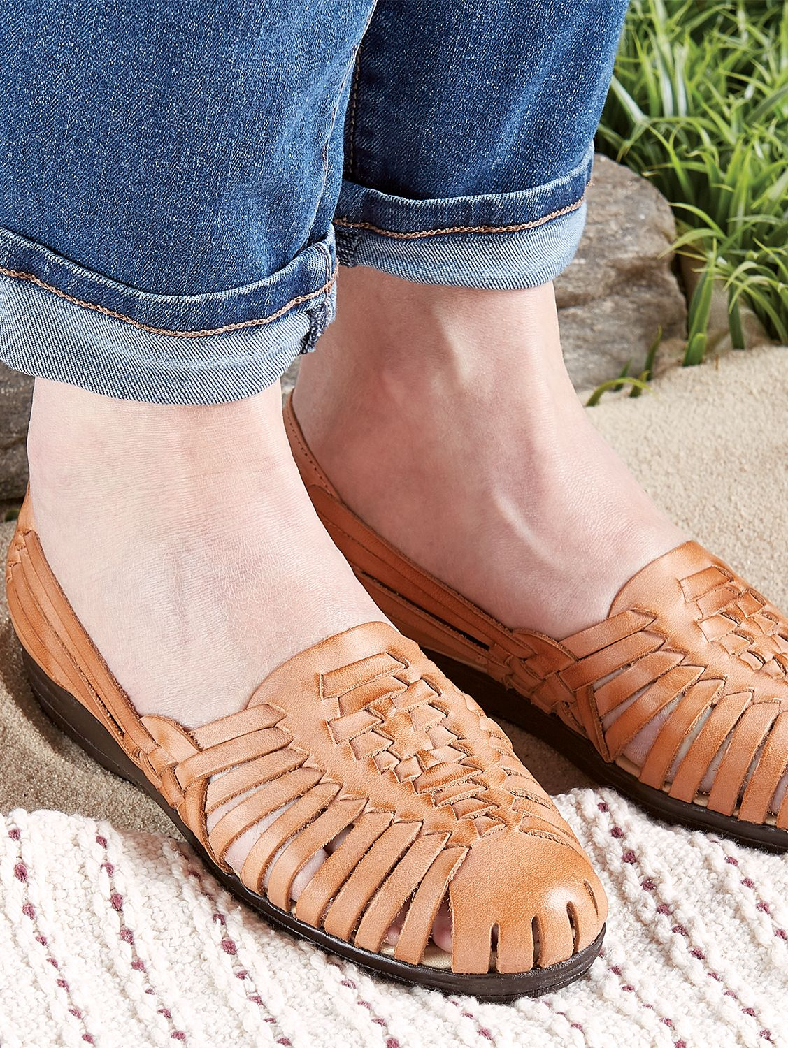 d05613f791f6 Leather Huarache Sandals With Memory Foam Insoles