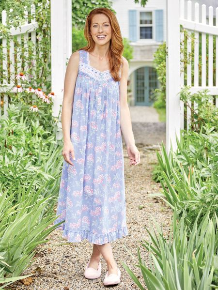 80a5501120 Eileen West Cherry Blossom Cotton Lawn Nightgown