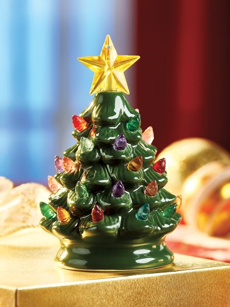 Mini Ceramic Battery Powered Christmas Tree - Mini Ceramic Christmas Tree - Small Holiday Nightlight