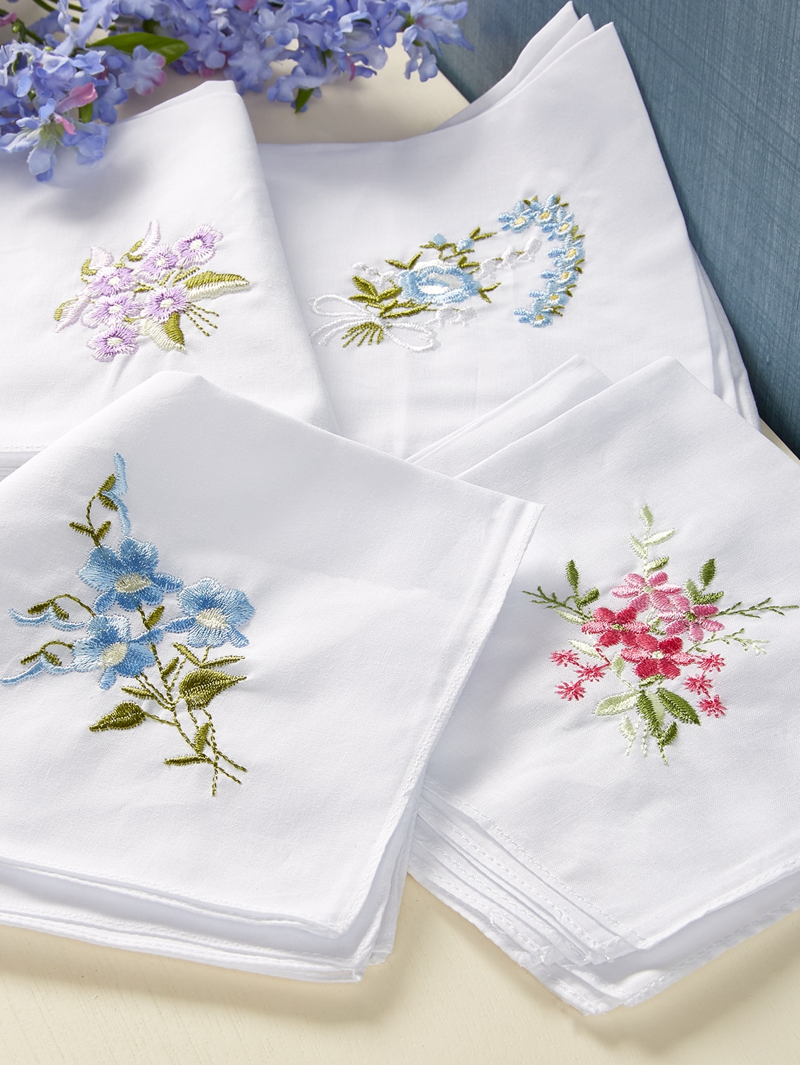 WOMENS LADIES 100/% COTTON 3 PACK HANDKERCHIEFS EMBROIDERY HANKIES GIFT BOX