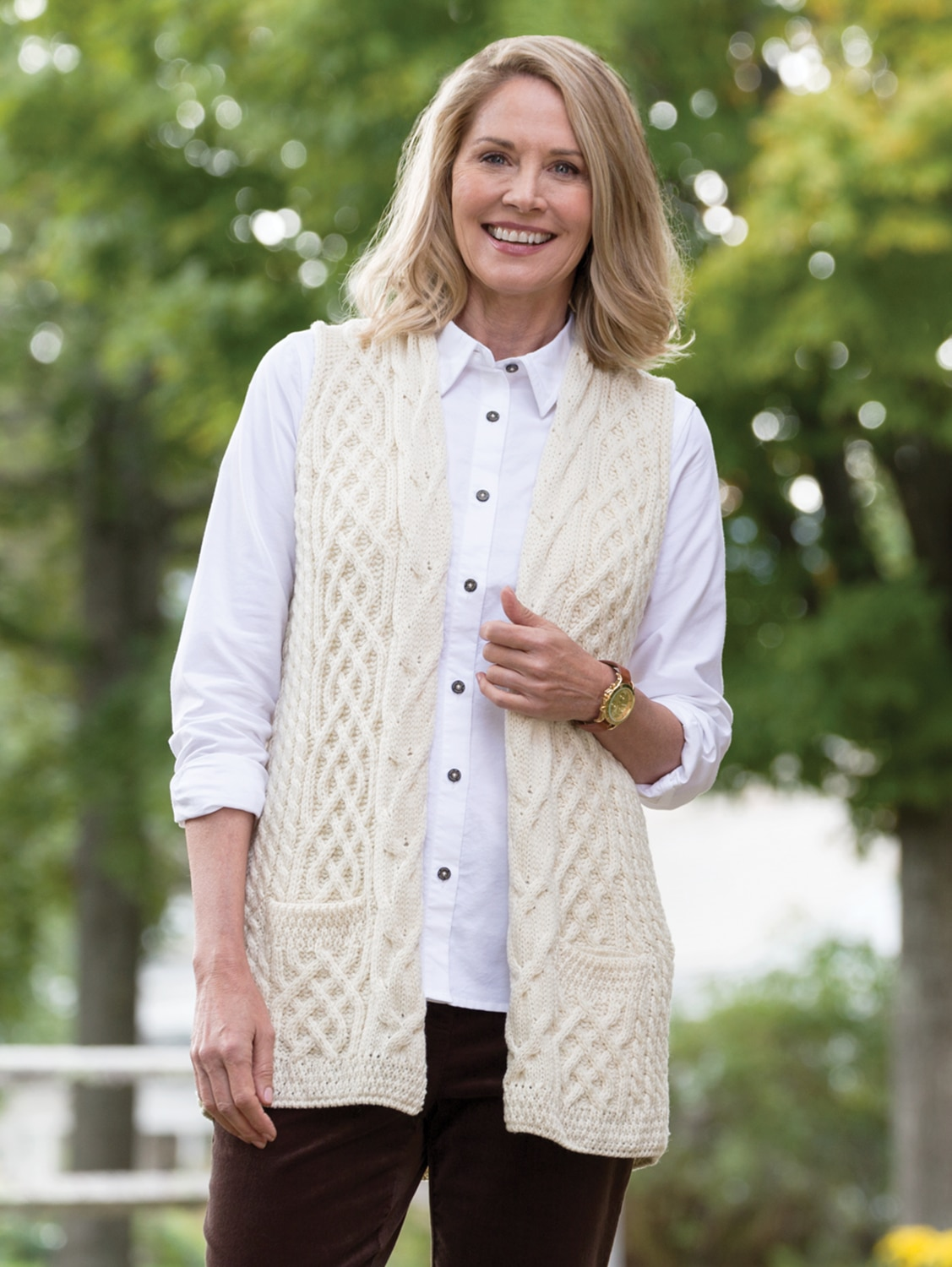 Women's Irish Wool Open Sweater Vest