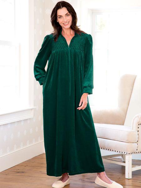 Zip Front Velour Robe Womens Vanity Fair Long Robe