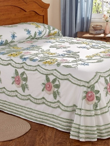 Chenille Bedspreads.Rosalee Floral Chenille Bedspread