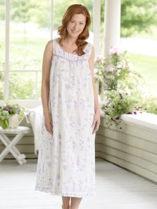 9e35962138 Eileen West Lavender Floral Nightgown