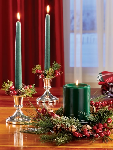 Christmas Candle Rings.Pine Berry Christmas Taper And Pillar Candle Rings