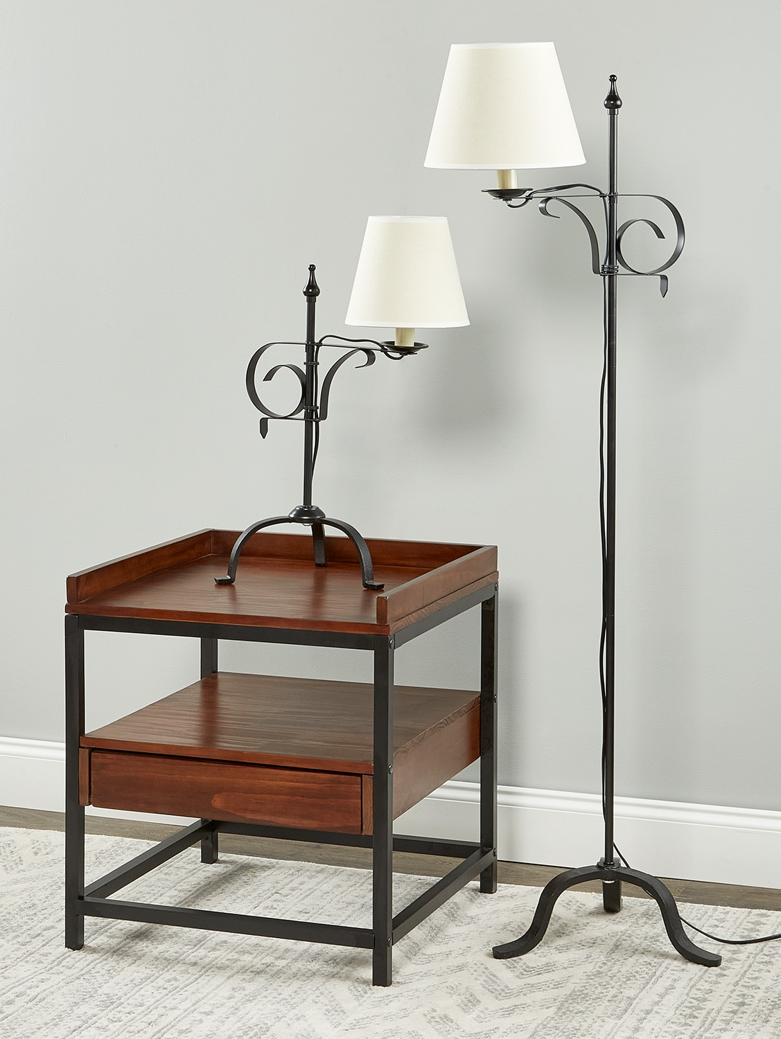 Wrought iron adjustable table and floor lamps