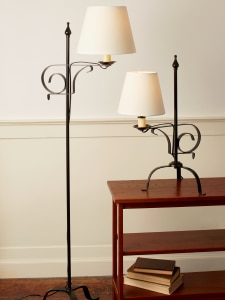 Wrought Iron Lamp With Adjustable Harp