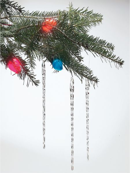 One Dozen Glass Icicles - Glass Icicle Ornaments For Christmas Trees Real Crystal