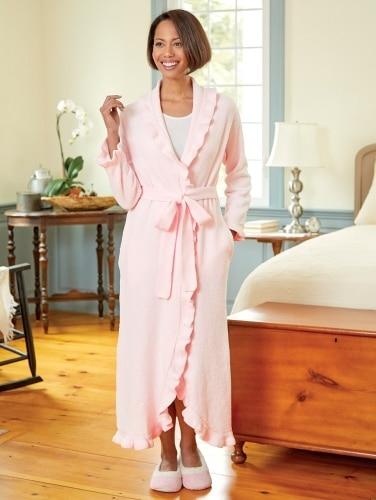 2460bad42c Chenille Bathrobe | Ruffled Wrap Robe