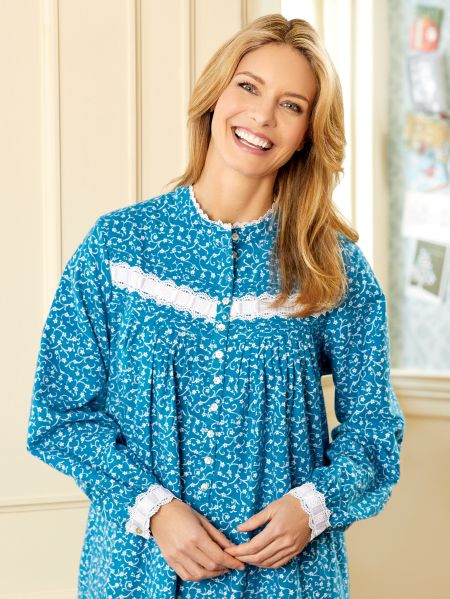 Eileen West Forget-Me-Not Flannel Nightgown  5a60dbbdf