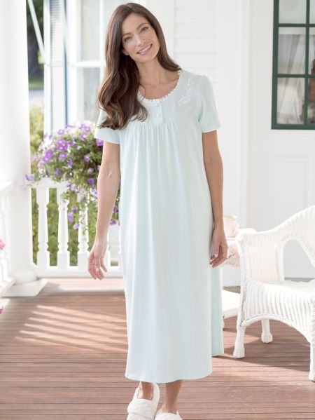 41482e0621 Cotton Knit Nightgown with Lace and Satin Trim