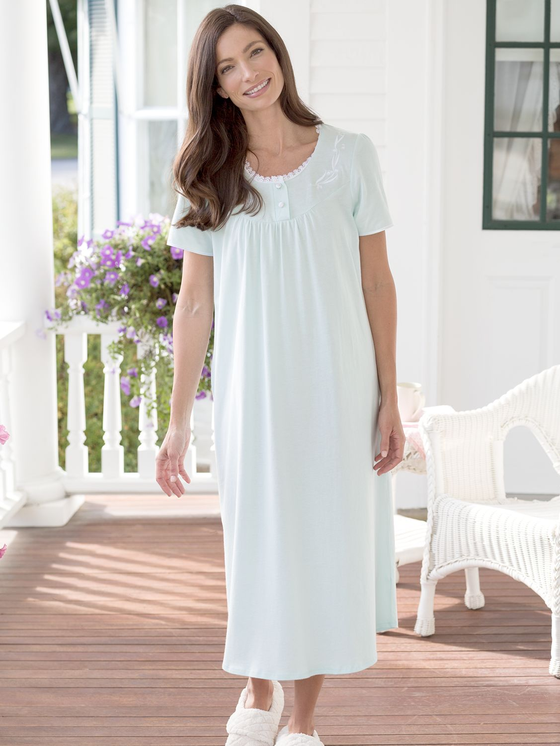 276802aa036 Cotton Knit Nightgown with Lace and Satin Trim