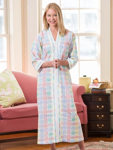 Zip Front Duster - Womens Robe with Terry Cloth Trim