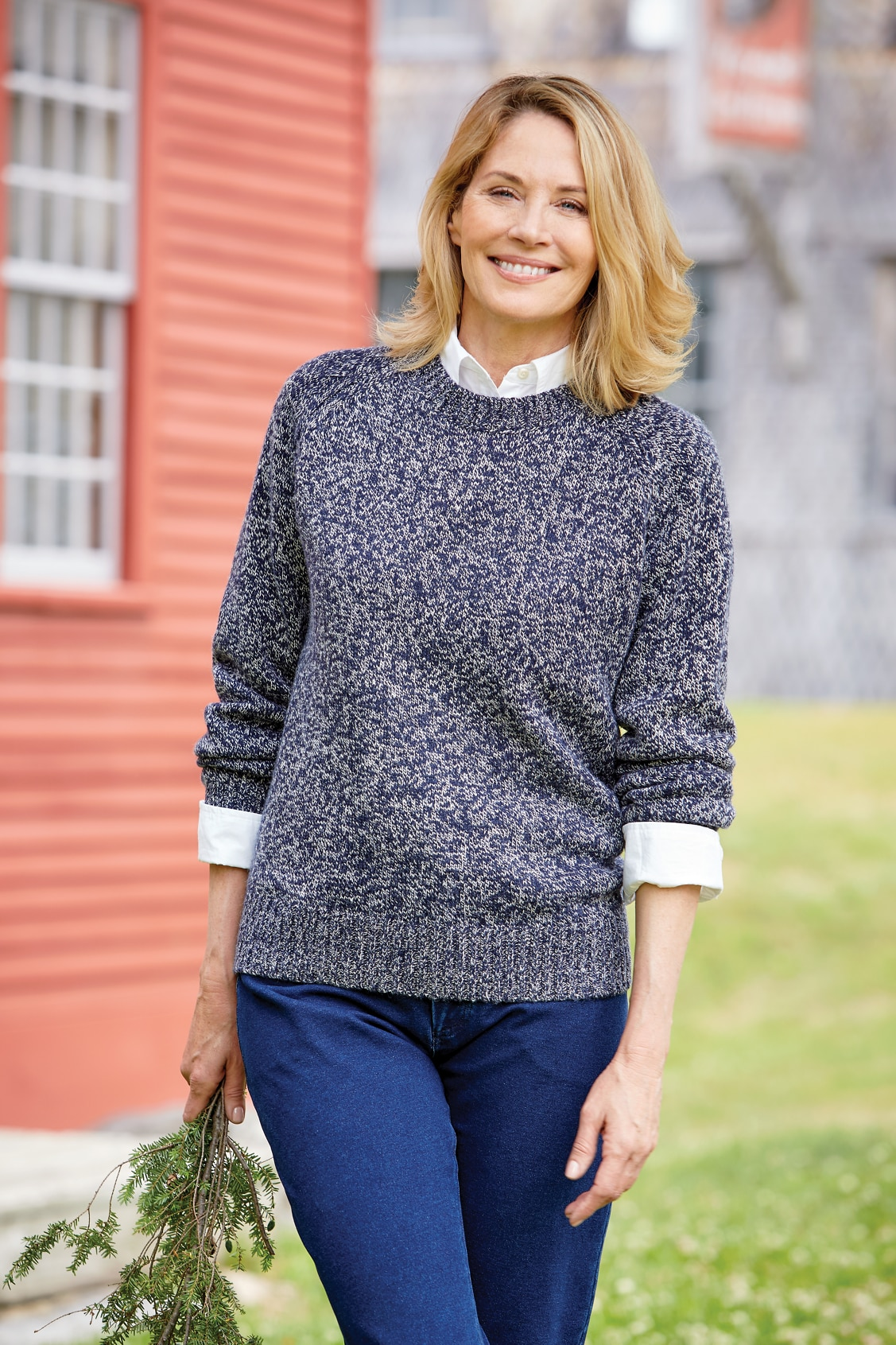 Women's Ragg-Wool-Blend Crewneck Sweater
