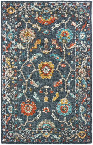 Blue Floral Bohemian Style Rug Vermont Country Store