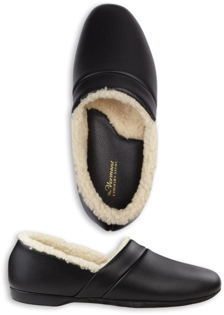 mens leather slippers shearling lined house shoes