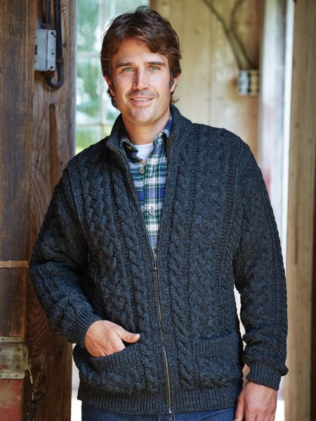 Mens Irish Wool Sweater With Zipper Aran Knit Sweater