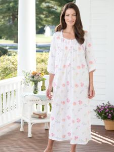 Lanz Tossed-Floral Print Nightgown 635227f27