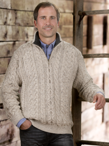 5c02d3444bcfea Mens Irish Merino Wool Pullover with Quarter Zip