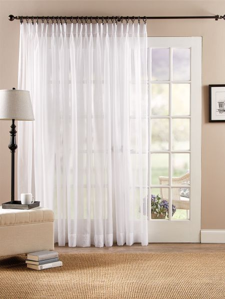 Classic Pinch Pleat Sheer Door Curtain, Patio Panel Curtains