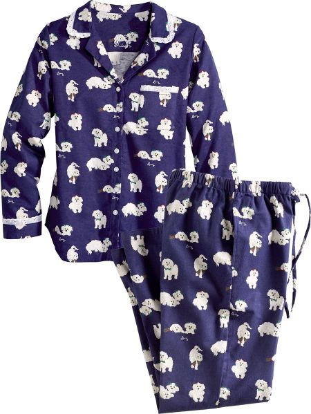 8965a51c00 Lanz of Salzburg Puppy Love Flannel Pajamas for Women